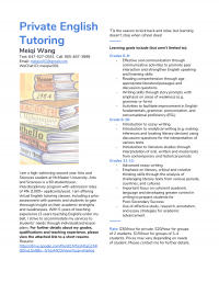 Online Private/Group English Tutoring for the Summer Grades 6-12