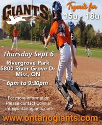 Baseball tryouts for players 15u - 18u  on  buy and sell toronto