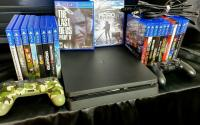 Sony Playstation 4 ps4 500gbs Slim Console Bundle + Two controllers + 21 games