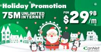 Unlimited and high-speed internet 75 Mbps @ $29.98/m