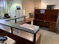 Large L Shape Reception Office Desk & Wall Cabinet